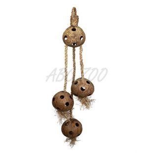 Játék madaraknak - kókuszdió szizál kötélen