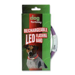Nyakörv kutyáknak DOG FANTASY világító - lila, 45 cm