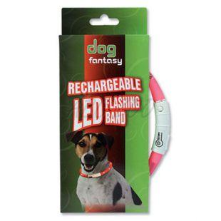 Nyakörv kutyáknak DOG FANTASY világító - rózsaszín, 70 cm