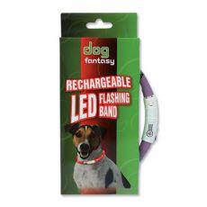 Nyakörv kutyáknak DOG FANTASY világító - lila, 70 cm