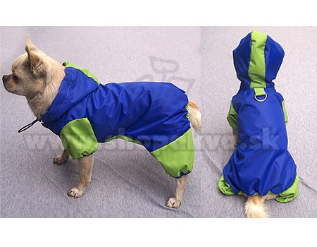 Pršiplášť pre psíka - modrozelený overal s kapucňou